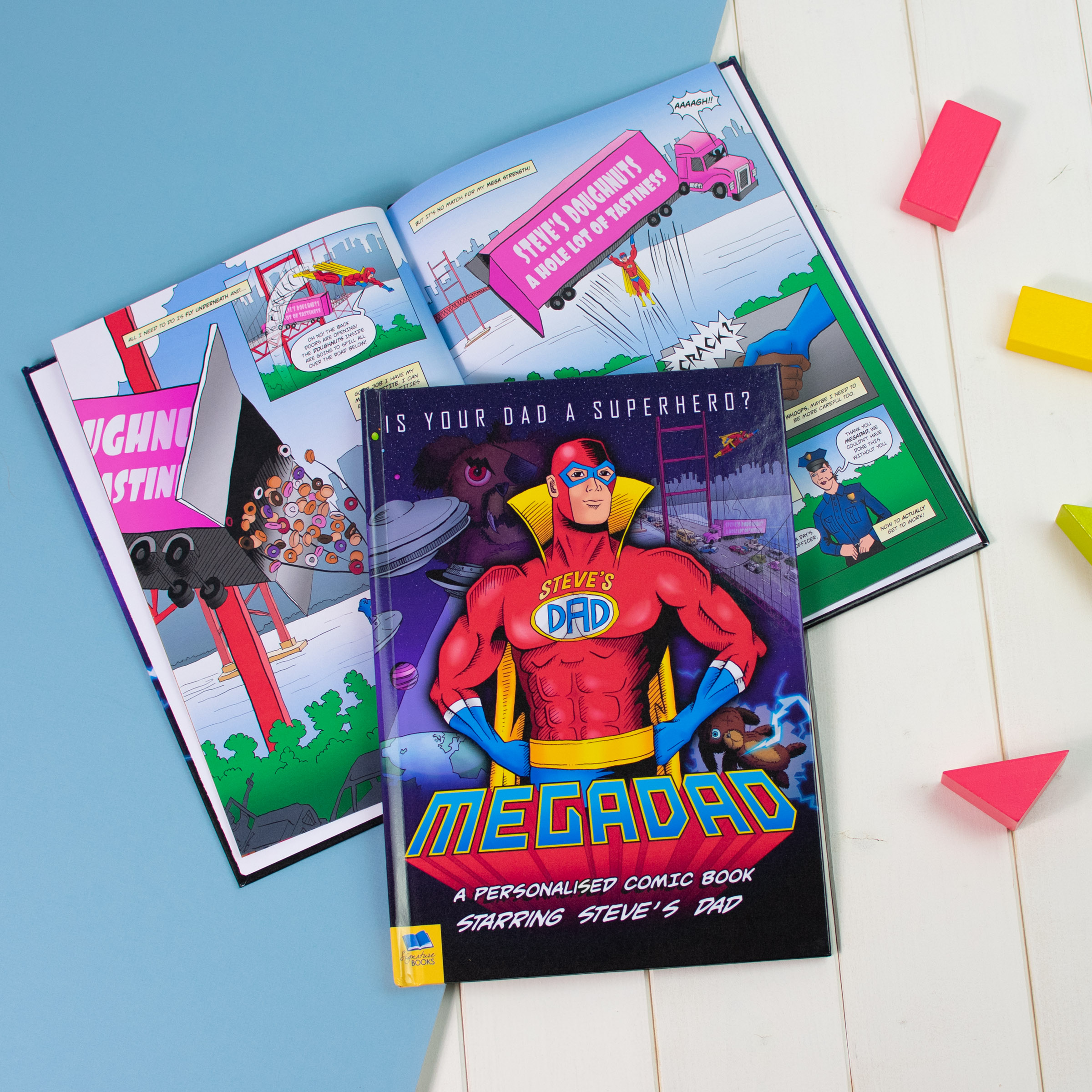 Personalised Mega Dad Comic Book Softback Daddy Father/'s Day Gift Birthday