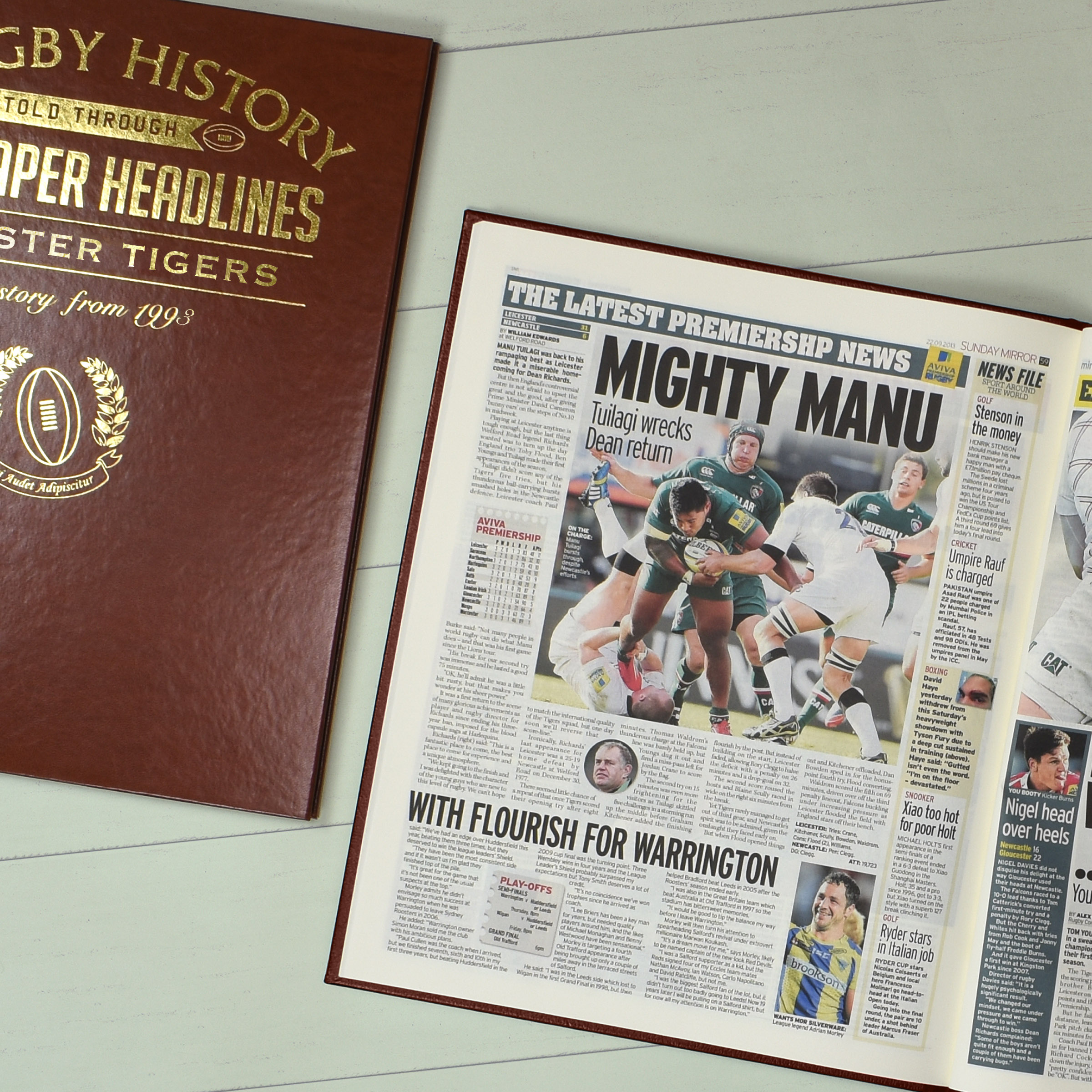 Leatherette Rugby Union Newspaper Book With Colour Pages